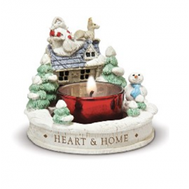 Candle Holder Santa Claus House